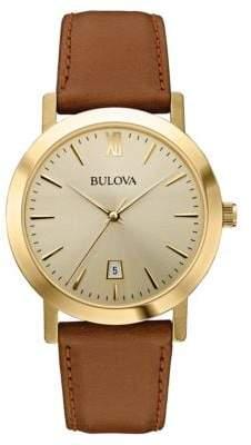 Bulova Mens Goldtone and Leather Quartz Watch