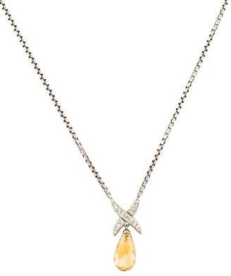 David Yurman Diamond X & Citrine Pendant Necklace