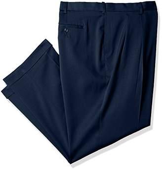 Savane Men's Big and Tall Pleated Stretch Crosshatch Dress Pant