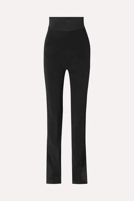 David Koma Satin-trimmed Cady Slim-leg Pants - Black