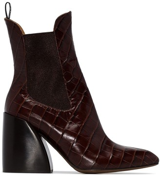 Chloé Wave 90 crocodile embossed boots