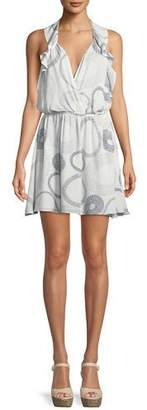 Ramy Brook Ciara Surplice Sleeveless Circle-Print Silk Mini Dress