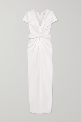 Emilia Wickstead Beatrice Bow-embellished Ruched Silk-satin Gown - Ivory