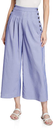 Moon River Side-Buttoned Pleated Wide-Leg Crop Pants