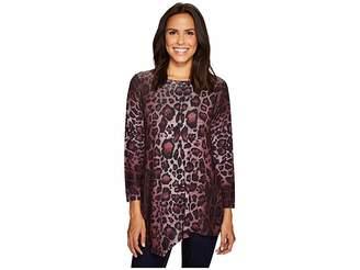 Nally & Millie Leopard Print Asymmetric Tunic Women's Blouse