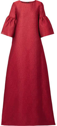 Reem Acra - Metallic Silk-cloqué Gown - Red
