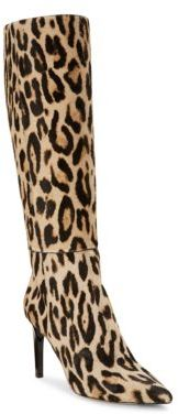 Jimmy Choo Cheetah Print Calf Hair Knee-High Boots