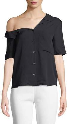 A.L.C. Josephine One-Shoulder Button-Front Silk Top
