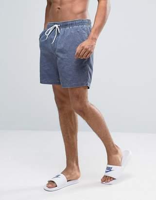Asos Swim Shorts In Navy Acid Wash Mid Length