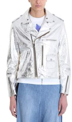 Golden Goose Laminated Silver Gold Leather Jacket
