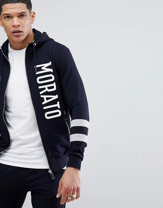 Antony Morato Hoodie In Navy With Stripe Sleeve