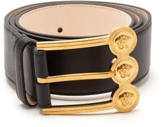 Versace Medusa Buckle Leather Belt - Womens - Black