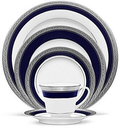 NoritakeNoritake Crestwood Cobalt Platinum Porcelain 5-Piece Place Setting