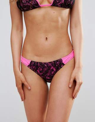 Asos DESIGN FULLER BUST Exclusive Contrast Lace Hipster Bikini Bottom