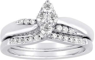 MODERN BRIDE I Said Yes 3/8 CT. T.W. Diamond Marquise-Shaped Platinaire Bridal Ring Set
