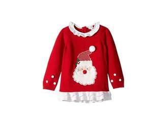 Mud Pie Red Santa Christmas Ruffle Sweater (Infant/Toddler)