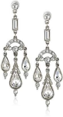 Ben-Amun Jewelry Silver-Tone Crystal Chandelier Earrings