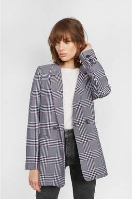 Anine Bing Madeleine Blazer - Red And Blue Plaid