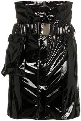 Faith Connexion high-waisted vinyl mini skirt