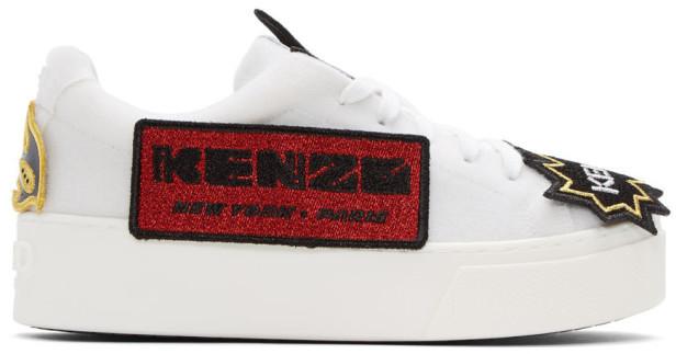 KenzoKenzo White K-Patch Platform Sneakers