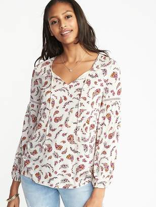 Old Navy Relaxed Boho Tie-Neck Top for Women