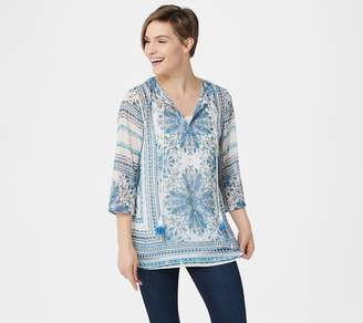 Dennis Basso Foil Print 3/4-Sleeve Chiffon Tunic with Camisole