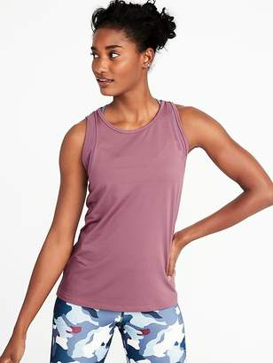 Old Navy High-Neck Mesh-Trim Racerback Performance Tank for Women