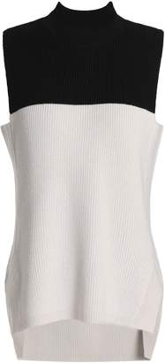Amanda Wakeley Two-tone Ribbed Merino Wool Top