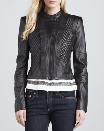 BCBGMAXAZRIA Quilted Leather Motorcycle Jacket