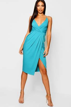 boohoo Strappy Wrap Detail Midi Dress