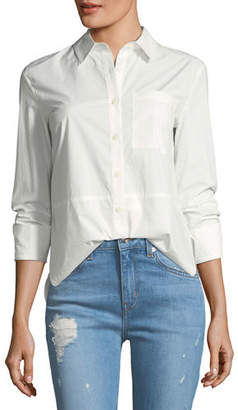 Derek Lam 10 Crosby Long-Sleeve Button-Front Cotton Shirt with Ruffle Detail