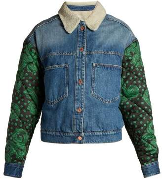 Etoile Isabel Marant Chrissa Contrast Sleeve Denim Jacket - Womens - Blue Multi