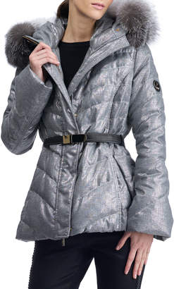 Gorski Apres-Ski Belted Metallic Quilted Puffer Jacket w/ Fox-Fur Hood