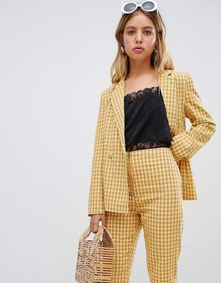 Wild Honey blazer jacket in check two-piece