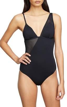 Onia Asymmetrical Mesh One-Piece Swimsuit