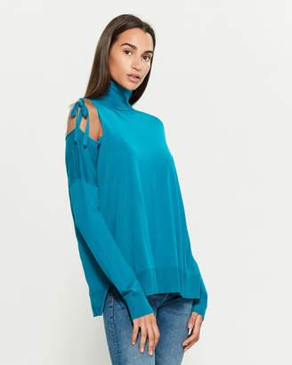 P.A.R.O.S.H. Cold Shoulder Long Sleeve Turtleneck Sweater