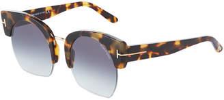 Tom Ford Oversized Tortoiseshell Semi-Rimless Sunglasses