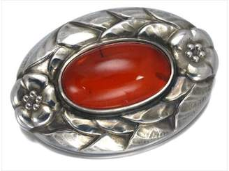 Georg Jensen 925 Sterling Silver Amber Flower Pin Brooch