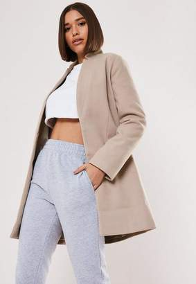 Missguided Nude inverted collar formal coat