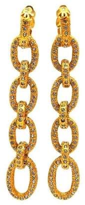 Chanel CC Logo Gold Tone Metal Rhinestone Hoops Dangle Earrings Rare