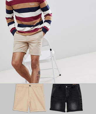 Asos DESIGN Slim Fit Denim Short In Washed Black And Chino Short In Stone Multipack Save