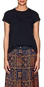 Sacai Women's Jersey & Pleated Tulle T-Shirt-Navy, Orange