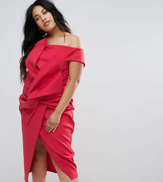 Asos PREMIUM Bow Front Twist Off The Shoulder Midi Scuba Dress
