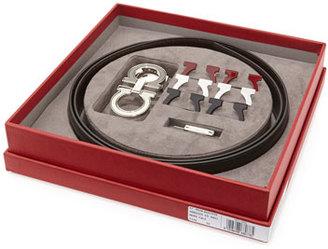 Salvatore Ferragamo Reversible Leather Belt Boxed Gift Set, Black $840 thestylecure.com