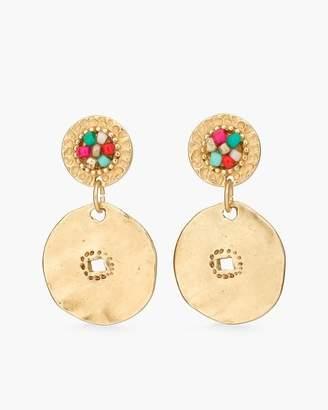Multi-Colored Seed Bead Disc Earrings