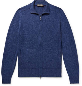 Loro Piana Mélange Baby Cashmere And Silk-Blend Zip-Up Cardigan