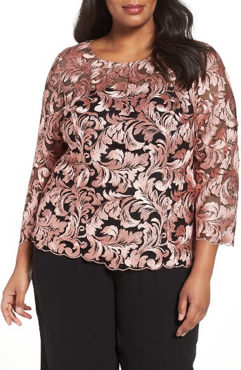 Alex Evenings Plus Size Women's Alex Evenings Embroidered Blouse