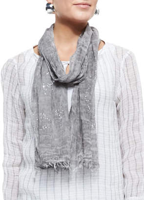 Eileen Fisher Tinted Encrusted Sparkle Scarf, Pewter