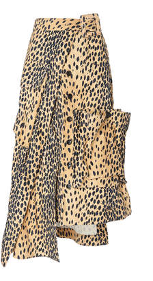Jacquemus Deconstructed Button-Front Animal-Print Midi Skirt