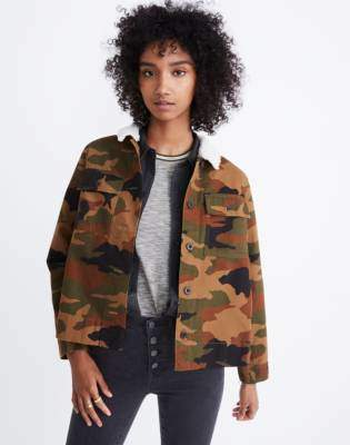 Madewell Northward Cropped Army Jacket in Cottontail Camo: Sherpa Edition